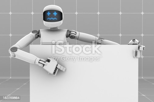 White futuristic robot holding and pointing a white sign board. Worried face. Gray Background.