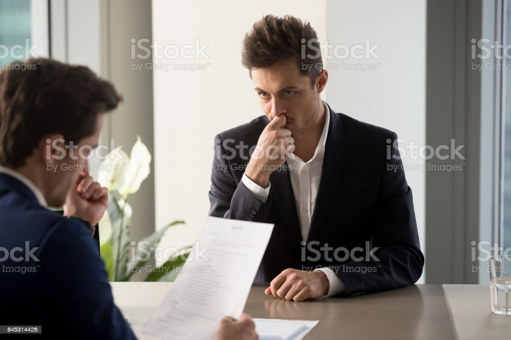 Worried job applicant waiting hiring decision stock photo
