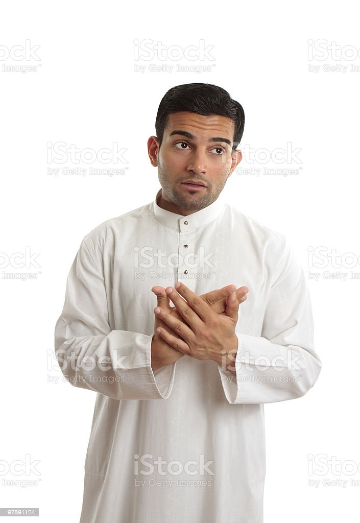 Worried middle eastern business man royalty-free stock photo