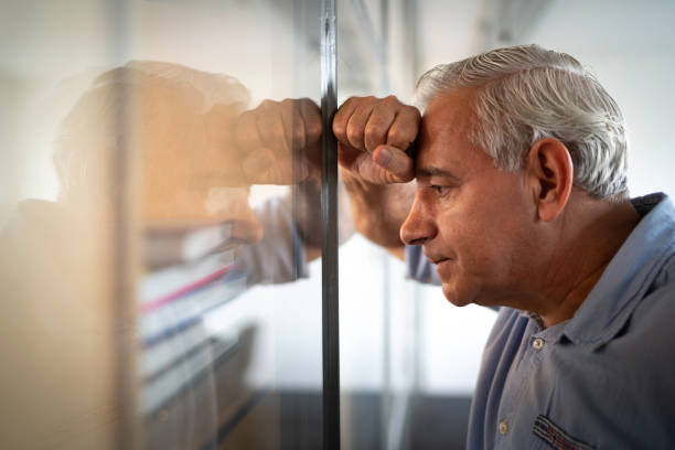 Worried senior businessman feeling stressed at work Coworking shooting hopelessness stock pictures, royalty-free photos & images
