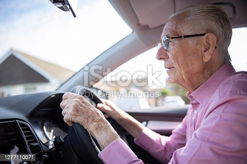 Worried Senior Male Driver Looking Through Car Windscreen