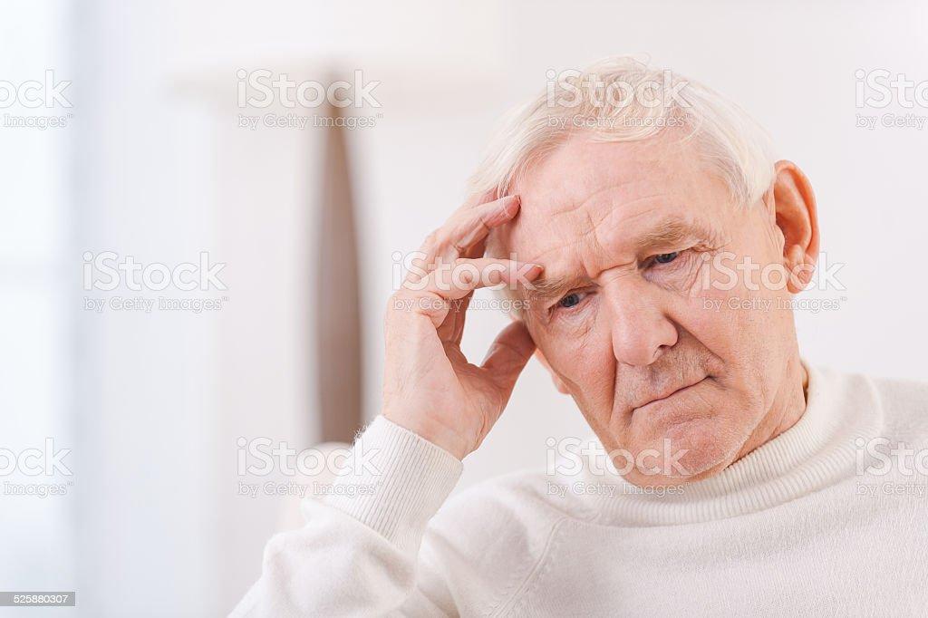 Worried senior man. stock photo