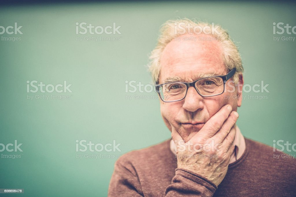 Worried Senior Man Portrait stock photo