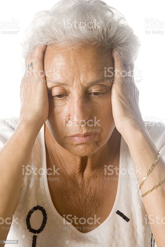Worried senior woman royalty-free stock photo
