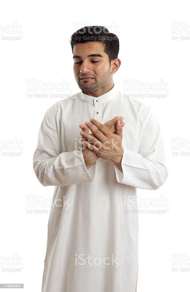 Worried stressed sad arab man stock photo