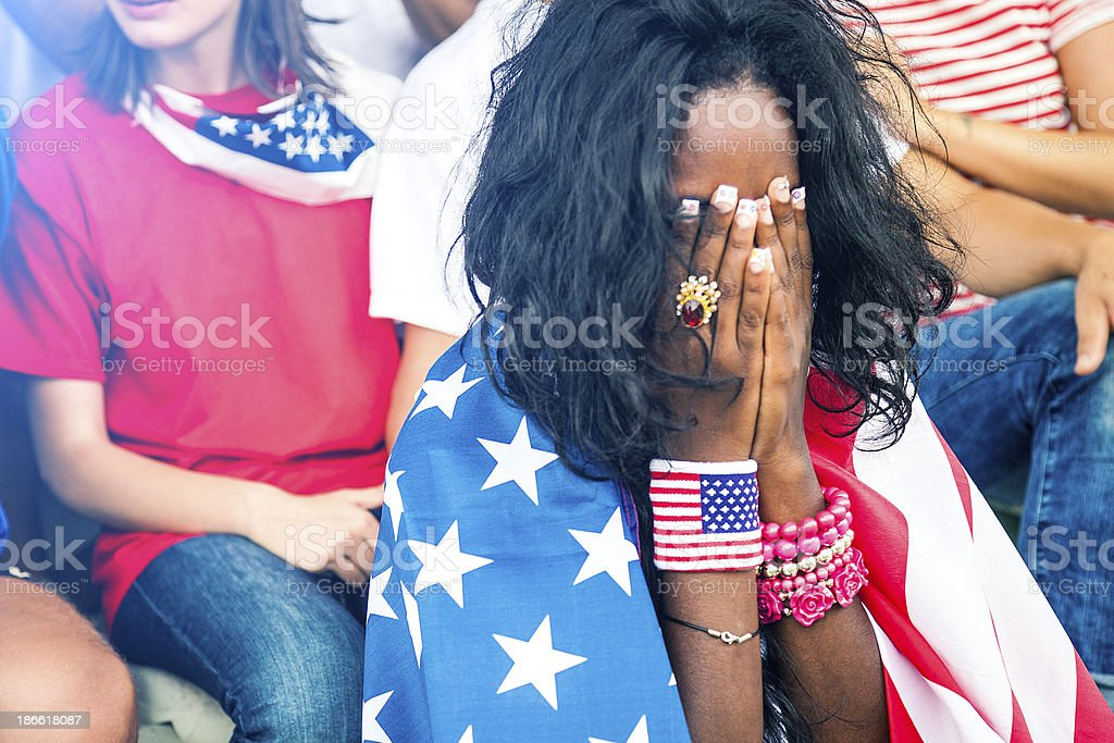 Worried USA fan at the stadium royalty-free stock photo