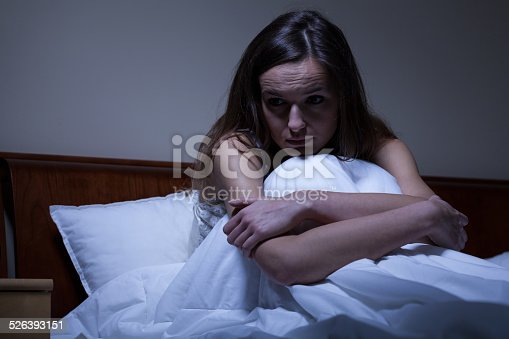 istock Worried woman in bed 526393151