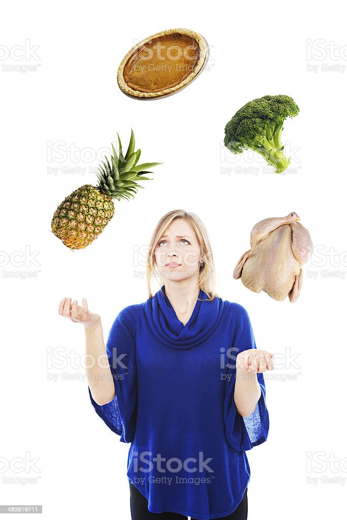 Worried Woman Juggling Famioly Nutrition, Food and Diet royalty-free stock photo