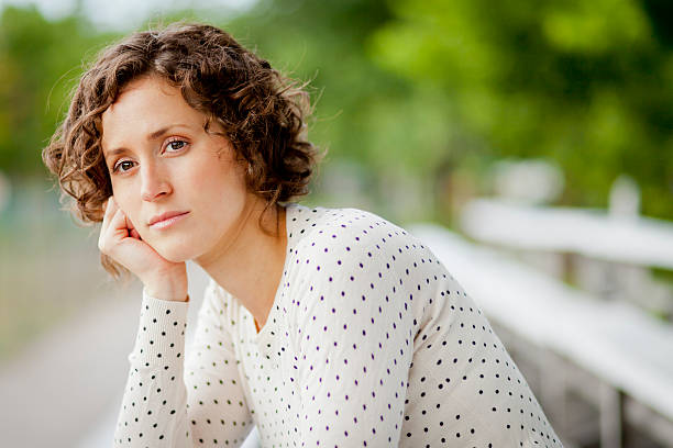Worried Woman Waiting stock photo