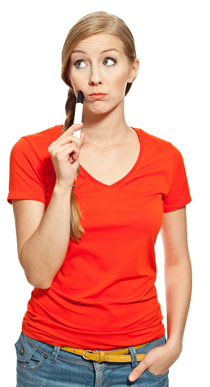 Worried Young Woman Stock Photo - Download Image Now