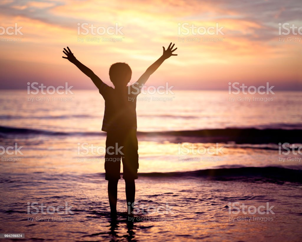 Worship and praise by the sea stock photo