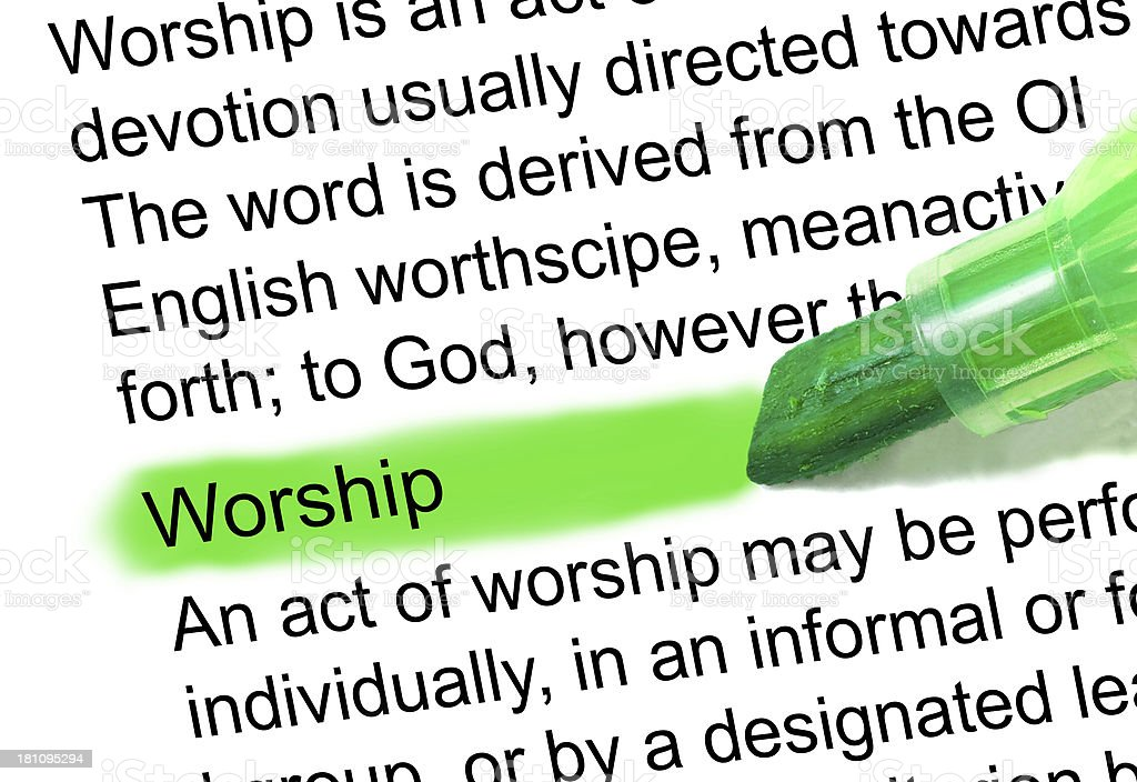 worship definition highlighted in dictionary stock photo