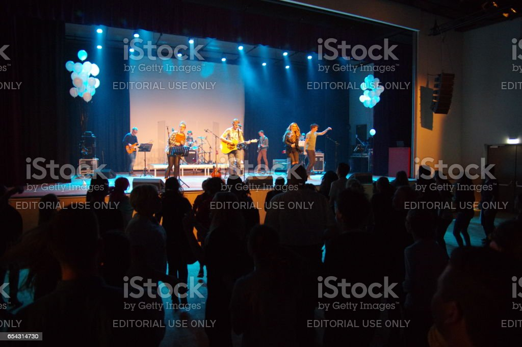 Worship event for teens. stock photo