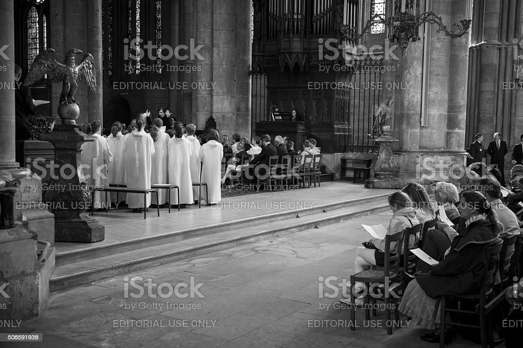 Worship inside Reims Cathedral, France stock photo