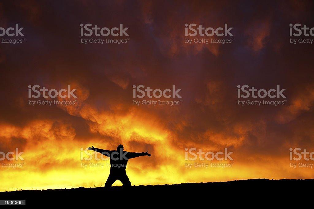Worship Silhouette stock photo