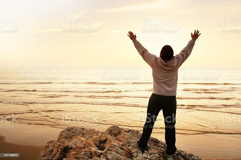 Worshiper at the Beach stock photo