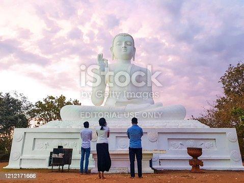 In July 2018, people were praying in Mihintale Temple, Sri Lanka
