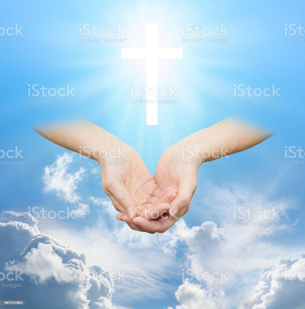 Worshiping the Divine Source of Love and Light stock photo
