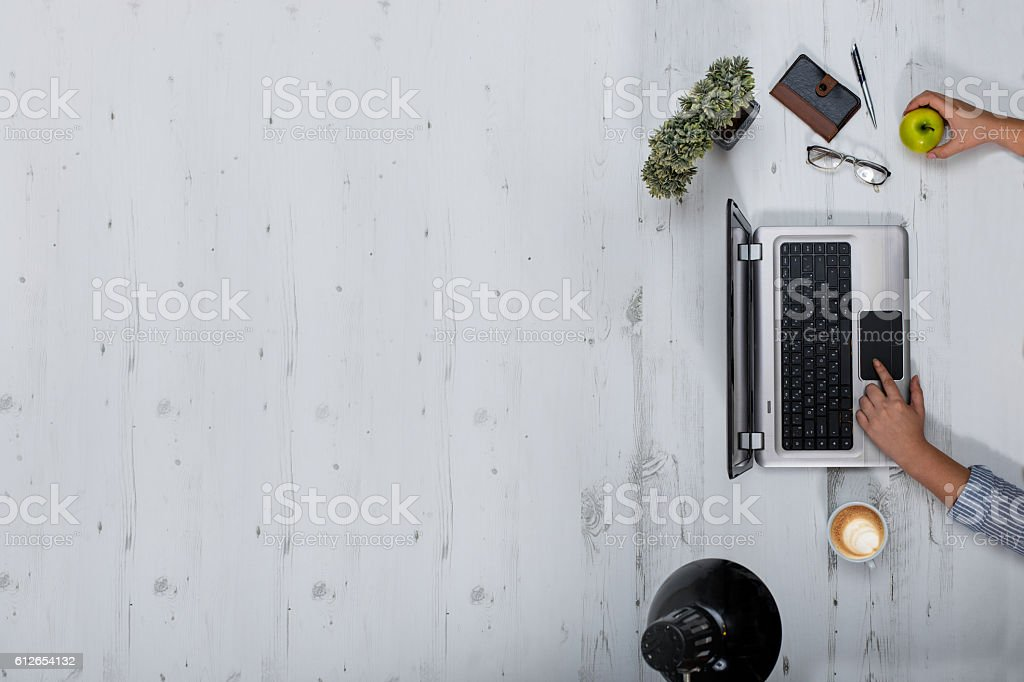 Worspace overhead view stock photo