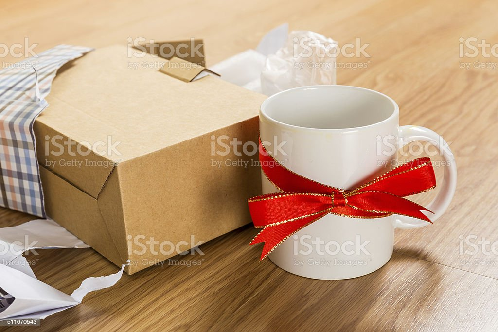 Worst gift, cup stock photo