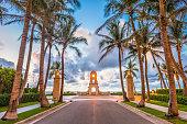 Palm Beach, Florida, USA at the beach clock tower.