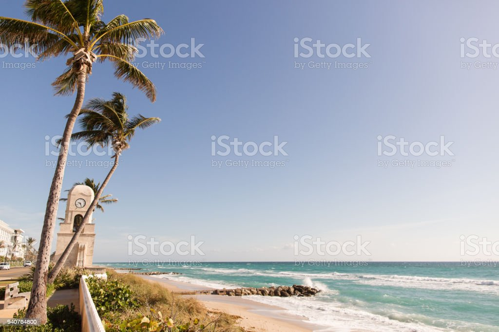 Worth Avenue Clock Tower on Palm Beach, FL stock photo