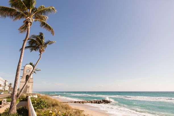 Worth Avenue Clock Tower on Palm Beach, FL stock photo