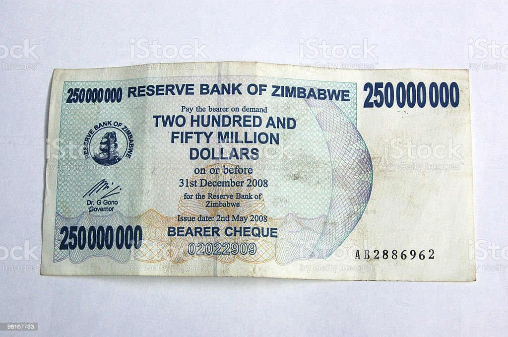 Worthless Zimbabwe currency royalty-free stock photo