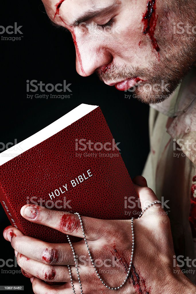 Wounded Soldier Holding Bible Wounded Soldier Holding Bible Adult Stock Photo