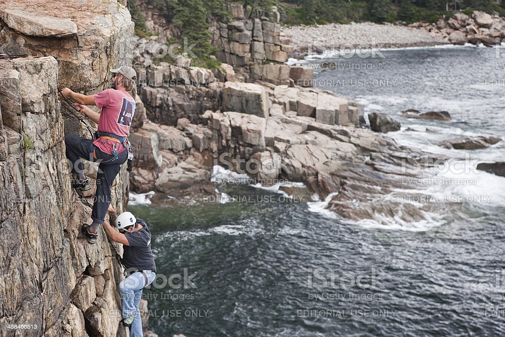 Wounded Warrior event rock climbing in Acadia National Park royalty-free stock photo