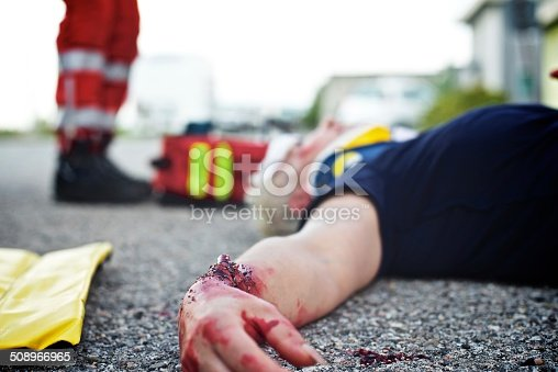 istock Wounded woman with paramedic 508966965