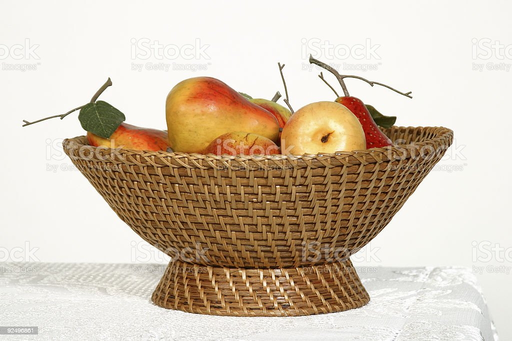 woven basket with fruits royalty-free stock photo