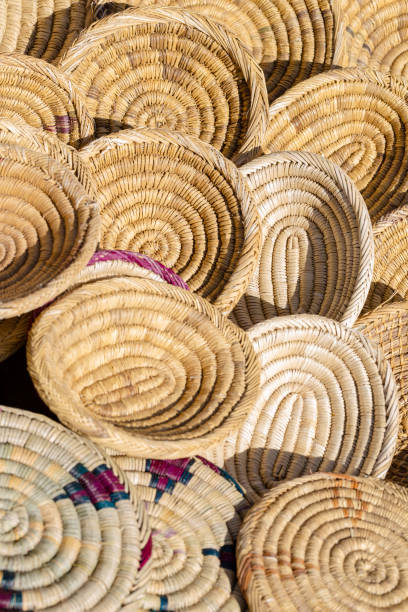 Woven baskets for sale stock photo