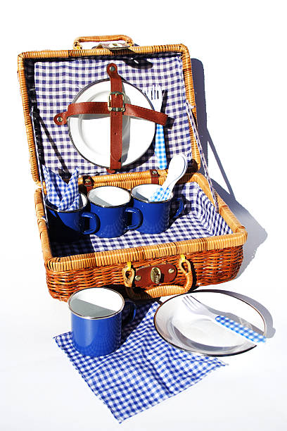 A woven case with blue checkered picnic supplies stock photo