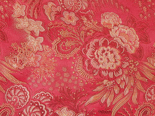 Woven chinese silk stock photo