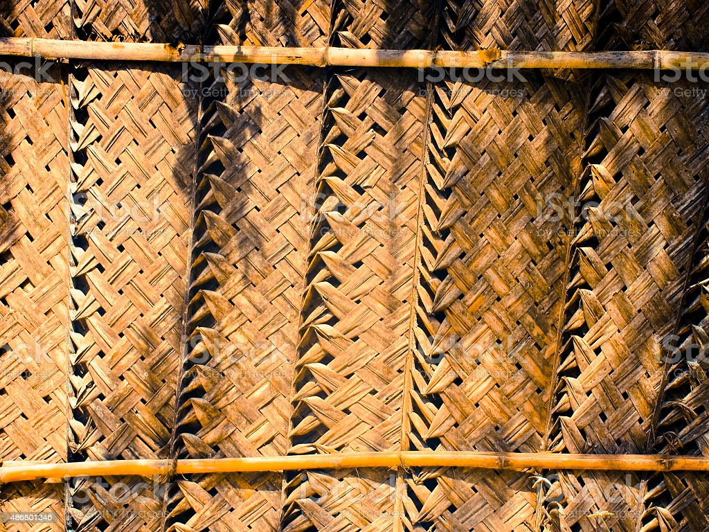Woven coconut palm thatch mat wall coconut leaf kerala stock photo