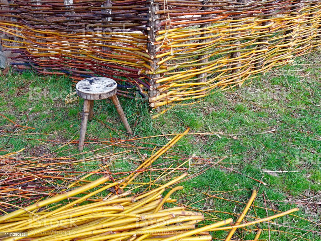 Woven Fence With Willow Branches Stock Photo Download Image Now Istock