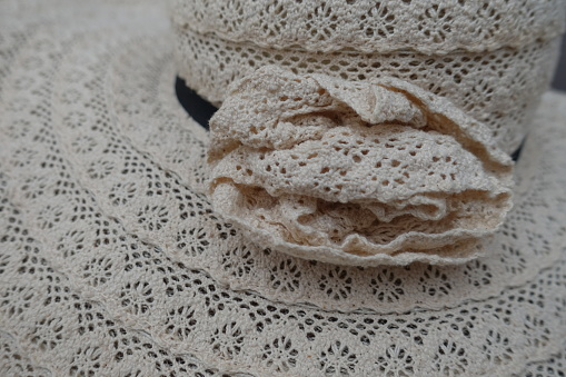 Woven Hat Made With Crochet Lace Handicraft - Fotografie stock e altre immagini di Alla moda