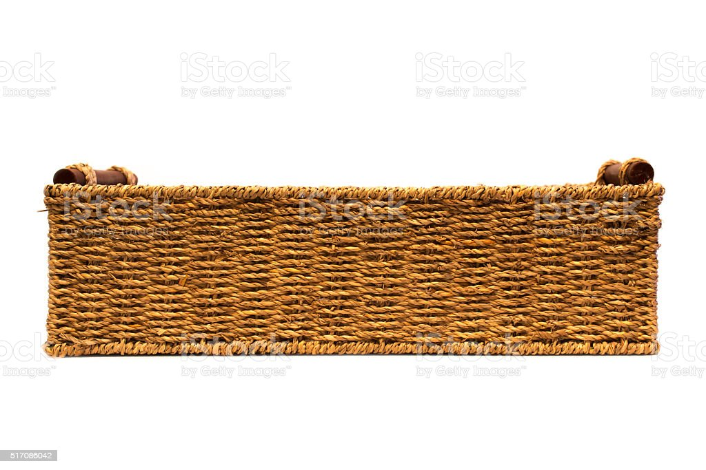 Woven rope basket with handles side view stock photo