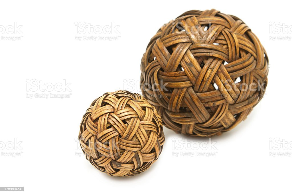 Woven wickerwork ball made from bamboo royalty-free stock photo