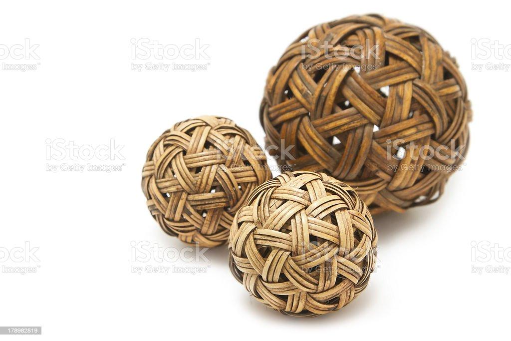 Woven wickerwork balls  made from bamboo stock photo