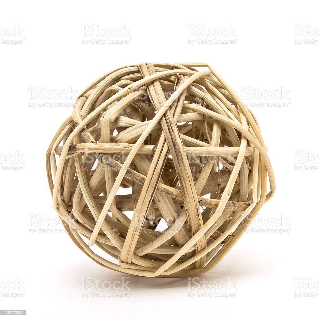 Woven wood ball stock photo
