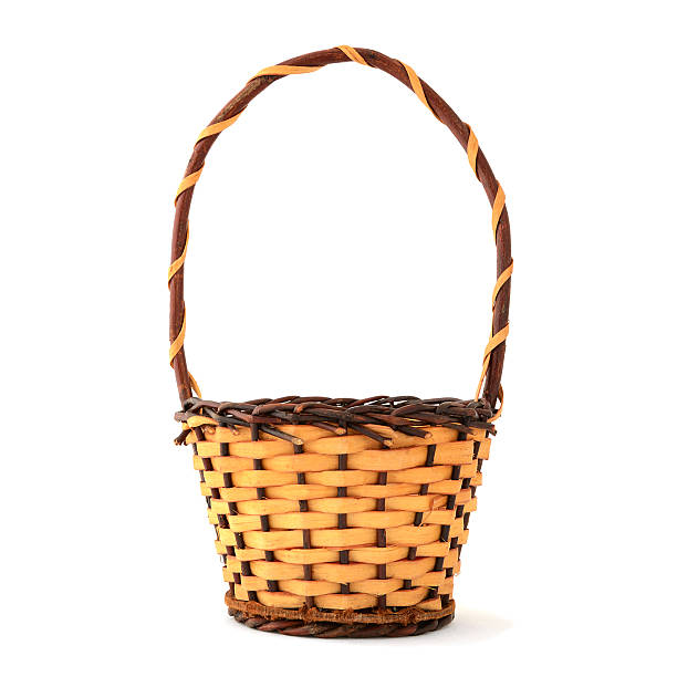 Woven Wooden Basket With Handle On White Background Stock Photo