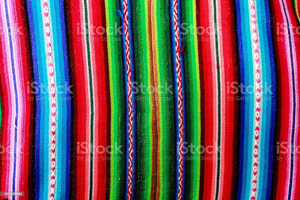 Woven wool fabric from Bolivia stock photo