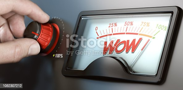 Man turning a knob to improve marketing campaign and the wow factor. Composite image between a hand photography and a 3D background.