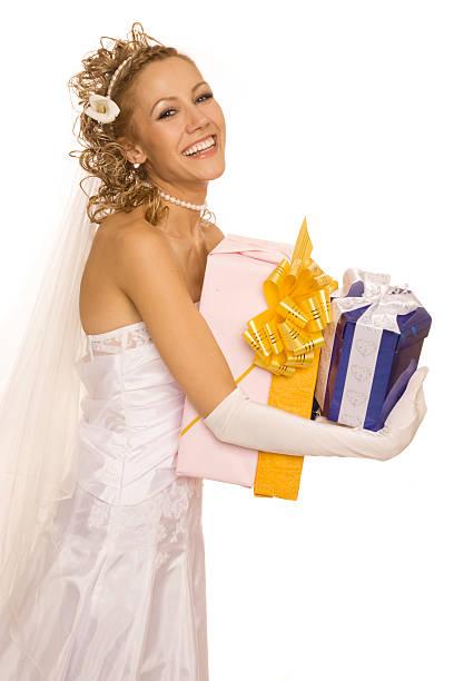 wow! meine geschenke! - hochzeits make up blaue augen stock-fotos und bilder