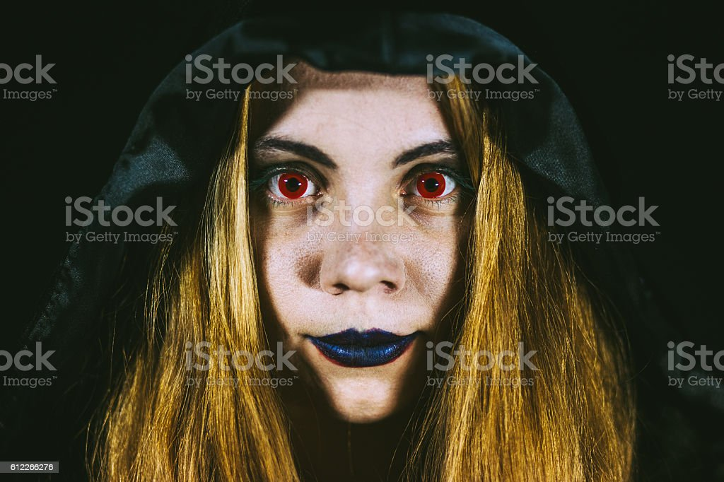 Wraith Red-eyed Redheaded Girl stock photo