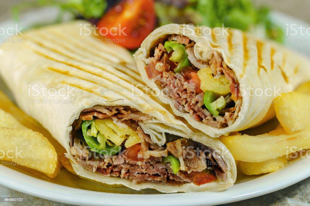 Wrap Meat Doner Kebap stock photo