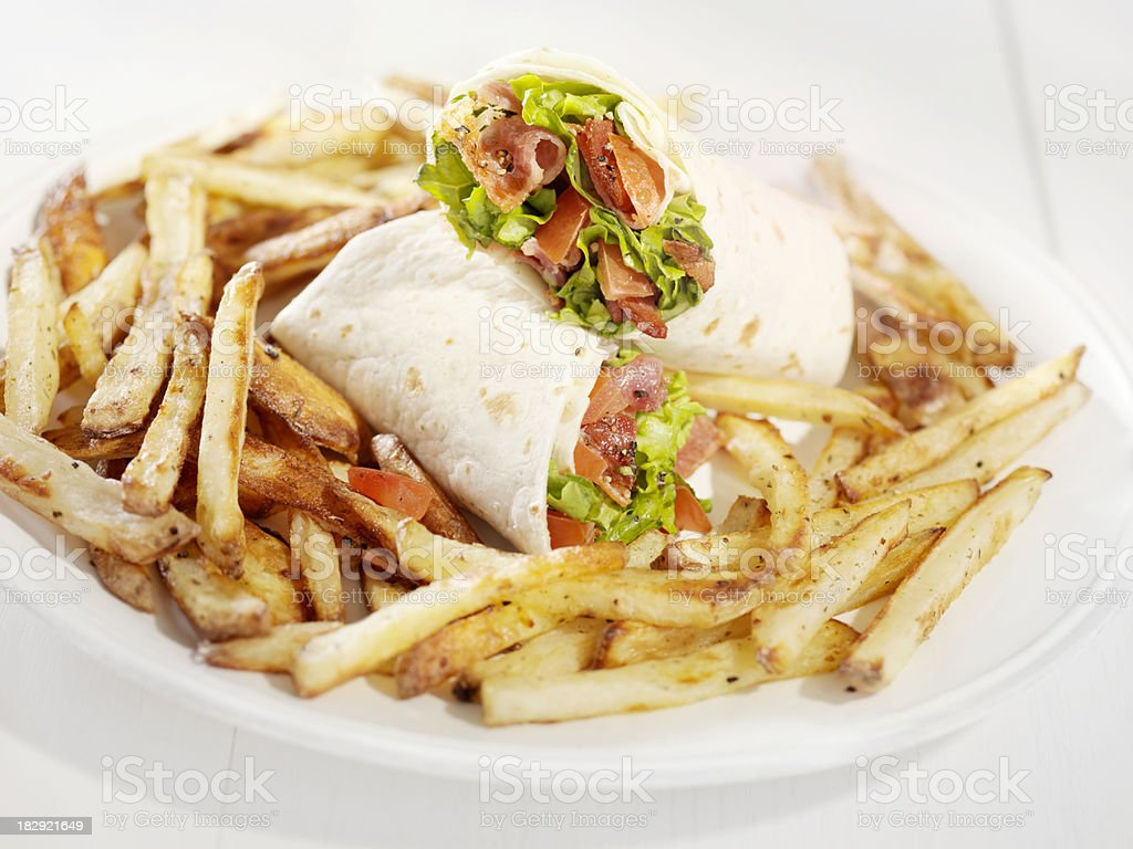 BLT Wrap Sandwich French Fries stock photo
