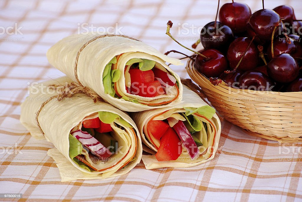Wrap sandwiches on a table cloth royalty-free stock photo